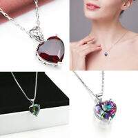 925 Silver Rainbow Gems Heart-shaped Pendant Necklace Jewelry Adjustable Chain
