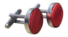 Unisex Silver plated plain satin Cuff links for a Blouse or Shirt Fire Red No9