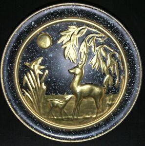 Vintage Guildcraft Embossed Gold & Navy Tin New York USA Deer Scene Speckled