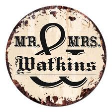 CPF-0222 MR. & MRS. WATKINS Circle Sign Rustic Tin Bar Home Man Cave Gift