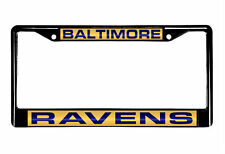 Baltimore Ravens Laser Cut Black Chrome Metal License Plate Frame