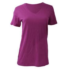 Magliette da donna viola basica con scollo a v