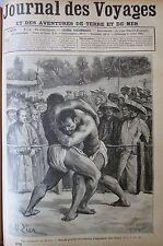 JOURNAL DES VOYAGES N° 678 de 1890 JAPON SPORT LUTTE COMBAT DE LUTTEURS