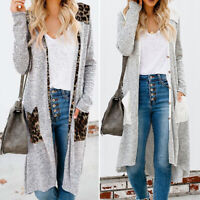 Fall Women Long Sleeve Striped Cardigan Coat Tops Buttons Long Jacket Outwear US
