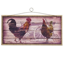Rustic Primitive Vintage Country Rooster sign Printed Burlap on Wood