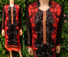"Vintage Indian Long Tunic Dashiki  Black Orange Embroidery Beaded 40"" UK 12-14"