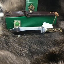 "1992 Puma 6375 White Hunter Knife Stag Handles Leather Sheath G/Y Box Mint ""A18"""