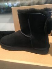 UGG BLACK CLASSIC MINI DOUBLE BOW SUEDE SHEEPSKIN BOOTS, WOMEN sz 8 new w box