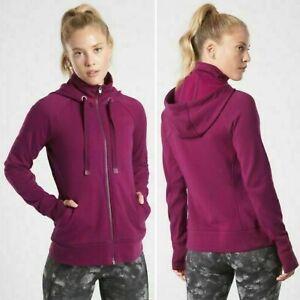 NWT Athleta Triumph Hoodie Sweatshirt SMALL Velvet Plum Zip Jacket Pockets