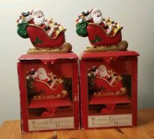 Windsor Collection Christmas Stocking Cast Iron Hanger Lot of 2 Santa in Sleigh