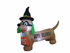 Halloween Air Blown LED Inflatable Yard Party Decoration Dog with Hat and Mask