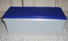 2 Pc Vintage TUPPERWARE Jumbo Bread Server Keeper~Sheer with Bold Blue Seal~#606