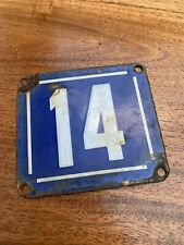 AN ALL ORIGINAL ANTIQUE FRENCH ENAMEL HOUSE NUMBER 14 QUATORZE