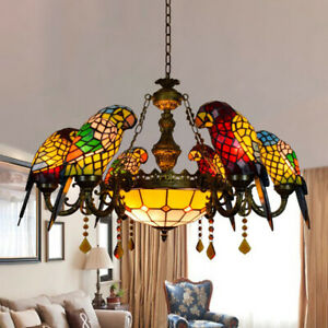 Tiffany Stained Glass Parrots Chandelier Indoor Colorful Pendant Ceiling Light