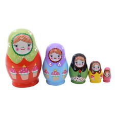 Wood Russian Nesting Doll Matryoshka Set Painted Ice Cream Home Decor 8C