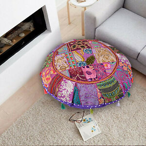 """Large 32""""Purple Round Floor Pillow Cushion Round Bohemian Patchwork Pillow Cover"""