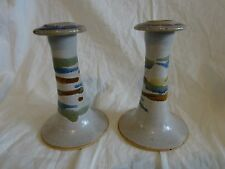 Vtg ROBERT FISHMAN POTTERY RFP From RHODE ISLAND Speckled CANDLESTICK Pair 5 1/2