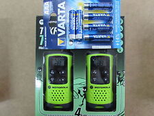 Motorola TLKR T41 2x Funkgeräte grün NEU + 6 Stück Varta Batterien High Energy