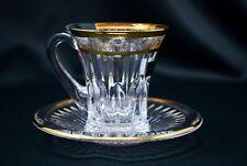 Coffee Tea set of 1 Cup  +1 Saucer Gold Rimmed Crystal Glass 3oz Bohemia Czech