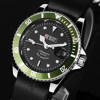 Military Royale Mens Watch Automatic Black Leather Strap Gloss Date Display Army