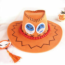 One Piece Portgas·D· Ace Cowboy Hat Cosplay Hats Pirates Cap Suede Costume Hat