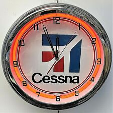 """16"""" Cessna Aircraft Airplane Sign Red Neon Clock"""