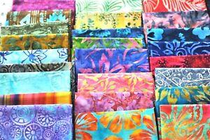 Lot of 10 100% Cotton Artisan Batik Quilt Mask Fabric Fat Quarters Random Lot