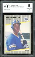 1989 Fleer #548 Ken Griffey Jr Rookie Card BGS BCCG 9 Near Mint+