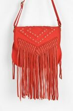 Deena & Ozzy Red Leather Suede Studded Fringe Crossbody HandBags