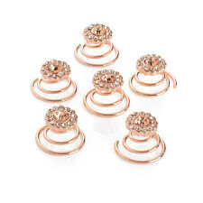 Bridal Wedding Rose Gold Flower Clear Crystal Hair Coils Spirals Twists Pins
