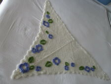 Vintage Handmade Mohair Shawl / Throw, white with purple and green Florals