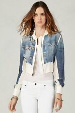 NEW TRUE RELIGION $198 DENIM PRINTED SILK JACKET  SZ S SMALL