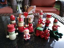 Lot of 10 Christmas Tree Ornaments / Lot Of 10 Hand Painted Wooden Ornaments .