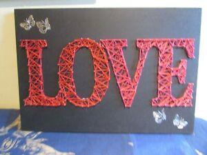 String n Pin Art LOVE in Red Embroidery Thread Silver Butterflies Handmade