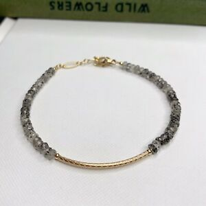 Black Quartz Gemstone 14K Gold Filled Handmade Sundance Garden Bracelet
