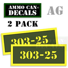 303-25 Ammo Can Box Decal Sticker Set bullet Gun safety Hunting labels 2 pack AG