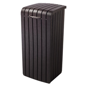Keter Trash Can Copenhagen Removable Rim Wood Style Resin Plastic Brown 30 Gal.