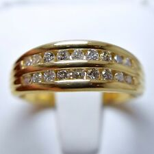 14k Yellow Gold Double Channel Set Diamond Half Eternity Ring 0.48 tcw, Size 8.5