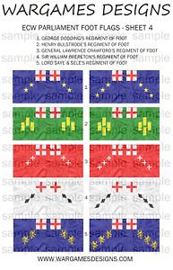 WECW 6mm ECW Parliament Foot Flags Sheet 9 Baroque FOG DBR Pike /& Shotte