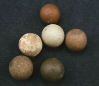 """6 Clay Marbles Private Stock Antique Handmade Old Collection 916""""  MAR495"""