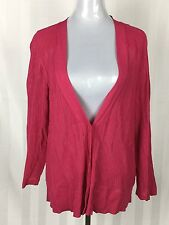 Blue Illusion 2L AU 18 Cardigan Hot Pink 3/4 Sleeves Button Front