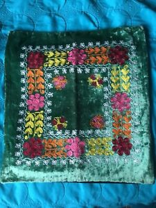 Handcrafted Russian Embroidery On Velvet Square Pillow Sham-New W/Tags