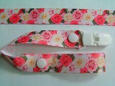 Una splendida rose rosa fiore Girls DUMMY CLIP/ciuccio/Toy clip (NUOVO)