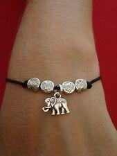 Tibetan Silver Elephant Charm Friendship Bracelet - Fully Adjustable