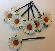 6x Daisies on BLACK Hair Grips Summer Wedding Bride Bridesmaid Prom