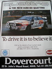 AUDI 80 QUATTRO Publicité Lumineuse Nouveau rallye 1983 Champion Poster Motor Racing GP de Formule F1