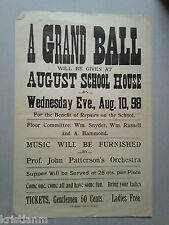 """1898 """"A Grand Ball"""" for August School House Stockton CA large Broadside"""
