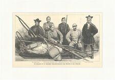Die Mitglieder der Dr. Nansenschen Schneeschuh Expedition Balto Holzstich E 3539