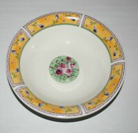 Porcelain Bowl Made In China, Hand Painted Yellow Border Rose Buds, Roses