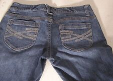 Women's Jeans Aeropostale Bootcut Size 11 12 Regular Blue Embellished Pockets
